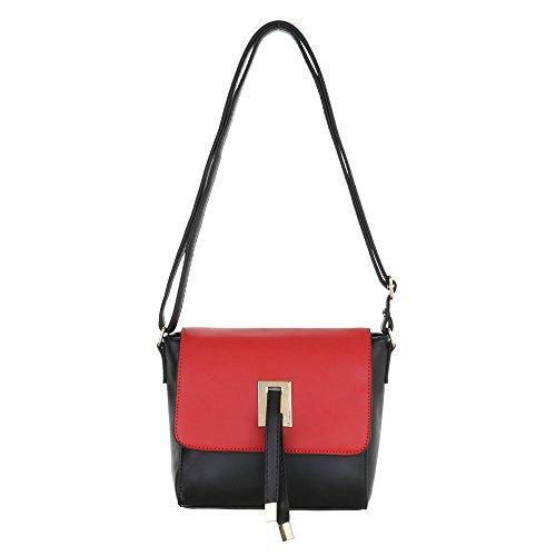 Damen Schultertasche Tragetasche Handtasche Schwarz Blau Rot Modell Nr1 Schwarz