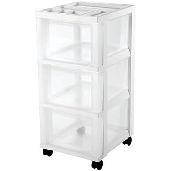 IRIS 3-Drawer Cart with Organizer Top (White)