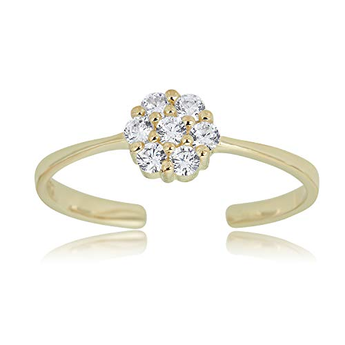 10K Yellow Gold Adjustable Flower Cluster Toe Ring with Simulated Diamond CZ