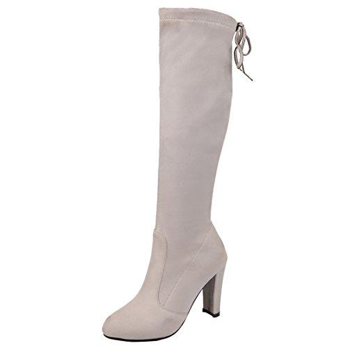 5ad999ede12f AIYOUMEI Damen Stretch Kniehohe Stiefel mit Blockabsatz und 9cm Absatz  Elegant Modern Winter Stiefel grau(