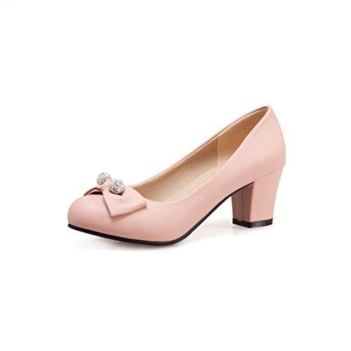 Zapatos de Tacón/Durante la Primavera y el Otoño Pajarita Zapatos de Mujer Dulce Espeso con Números Grandes con Zapatos. Pink