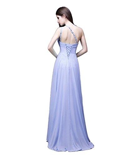 eine Damen Kleid Beaded Schulter Lila Chiffon Kleid Abend formalen Hell prom Edaier qwxaEdYnwB