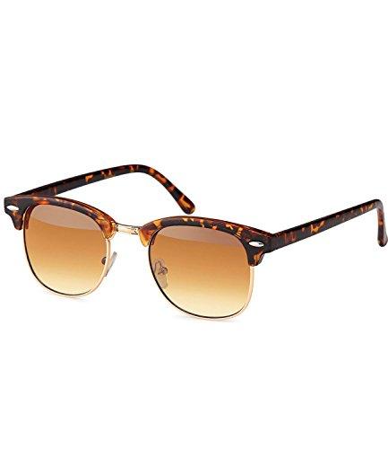 caripe Retro Sonnenbrille Clubmaster - clubma (Modell 4 - Hornstyle - braun getönt)