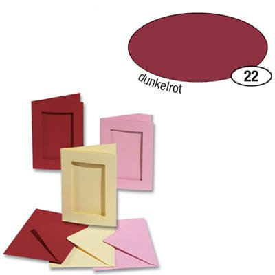 Passepartoutkarten und Umschl. 'rechteckig', dun.rot Creativ-Discount