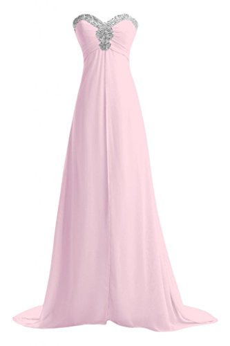 Gorgeous Bride Fashion Herzform Empire Kristall Lang Chiffon Brautjungfernkleid Ballkleid Abendmode Rosa 4GresoCR
