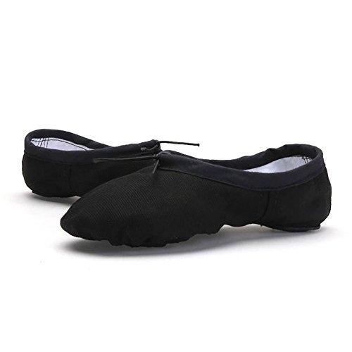WELOVE Ballett Slipper Schuhe Pointe Canvas Split Sohle Praxis Ballett Tanzen Gymnastik Schuhe Ballett Flache Slipper Yoga Schuhe Schwarz