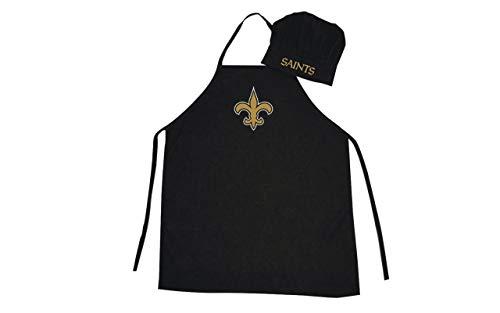 PSG unisex-adult Apron and Chef Hat Set NFL One Size, New Orleans Saints Black