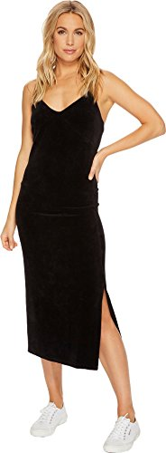 Juicy Couture Women's Stretch Velour Cross-Back Slip Dress Pitch Black Large