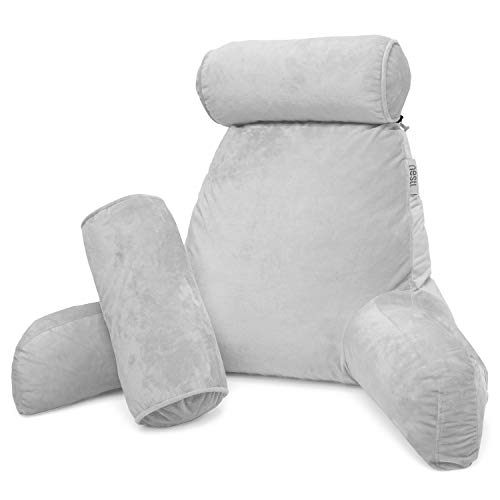 (Nestl Reading Pillow, Includes 1 Extra Large Bed Rest Pillow with Arms and Pockets + 2 Detachable Pillows, Premium Shredded Memory Foam TV Pillow, Neck Roll & Lumbar Support Pillow - Set of 3 - Silver)