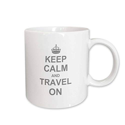 3dRose mug_157782_2 Keep Calm and Travel on Carry on Globe Traveling World Traveler Gifts Fun Funny Humor Humorous Ceramic Mug, 15-Ounce