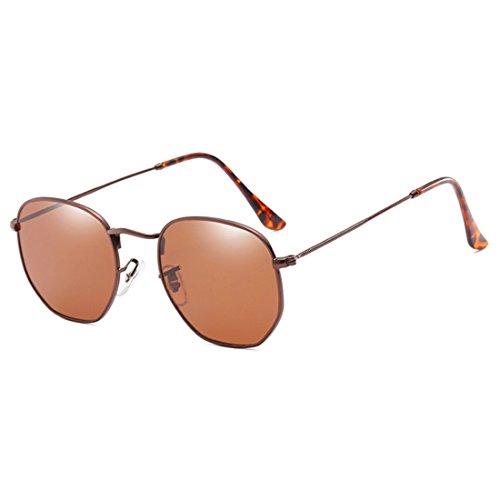 de del moda de Gafas marco del sol de Yefree sol de protectoras polígono Té de irregulares Gafas metálico la de las UV400 Bronce Caja lentes de moda gqx7w5wpTO