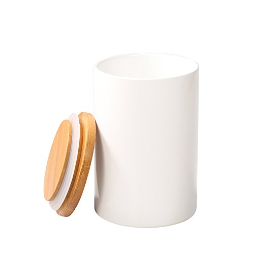 Salt Porcelain And Set Pepper Safe Dishwasher (Food Storage Jar, 14.52 FL OZ (430 ML), 77L Ceramic Food Storage Jar with Airtight Seal Bamboo Lid - Modern Design White Ceramic Food Storage Canister for Serving Tea, Coffee, Spice and More)