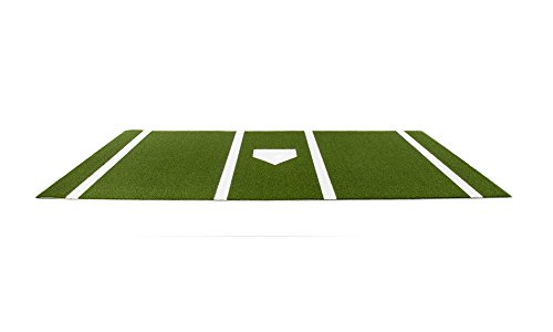 Pro-Ball Synthetic Turf Baseball/Softball Hitting Mat with Home Plate and Lines, Green - 7 feet x 12 feet -