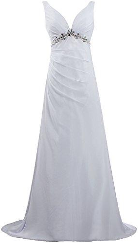 V Bretelles Robes De Mariage De Plage De Mousseline De Cou D'ivoire Long Robe De Fourmis Femmes