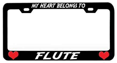 (Jseng My Heart Belongs to Flute License Plate Frame Humor Funny, Stainless Steel Car Tag Cover, Novelty License Plate Cover Holder for US Standard, 2 Holes with Screws)