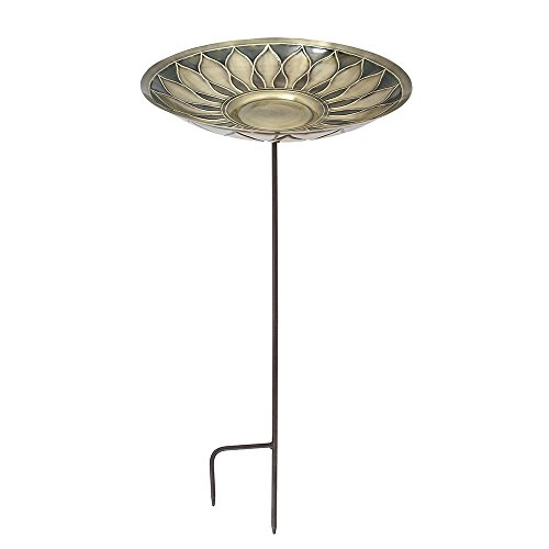 (Achla Designs African Daisy Birdbath, Brass, with Stake)