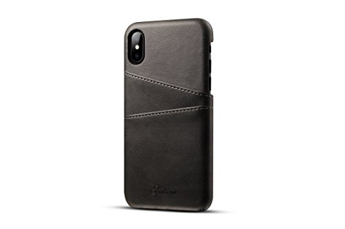 iPhone X Leather Case,TACOO Super Slim Soft Protective Two Credit Card Slots Ultra Thin Phone Back Cover for Apple iPhone 10 2017(Black)