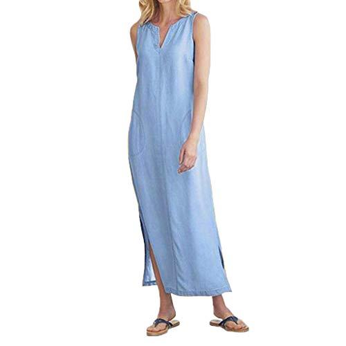 - Sunhusing Women's Sleeveless V-Neck Solid Color Cotton Hemp Side Split Hem Pocket Stitching Casual Dress Blue