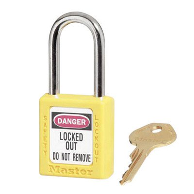 Master Lock® Yellow 1 1/2'' X 1 3/4'' Zenex Thermoplastic Lightweight Safety Lockout Padlock With 1/4'' X 1 1/2'' Shackle (6 Locks Per Set, Keyed Differently)
