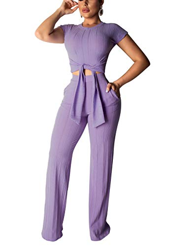 AEL Womens 2 Piece Outfits Jumpsuits Short Sleeve Bandage Tie Front Crop Top and Pants Tracksuits Set(Purple,XL) ()