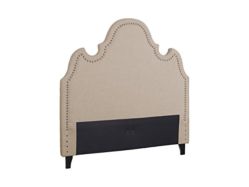 Best Master Furniture 616 Arched Linen Upholstered Panel Headboard, Cal King, Tan