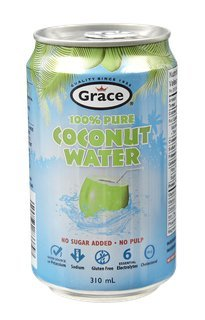 100% Natural Coconut Water - No Sugar Added - No Pulp - Can 24 Pack / 310ml - Grace Foods