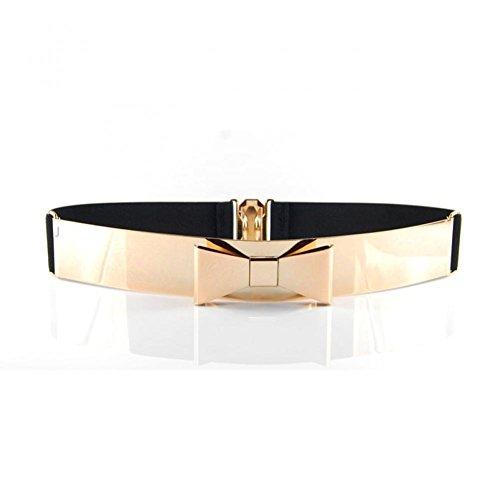 Metallic Mirror Gold Belt Elastic Wasit Belt Bow Obi Style