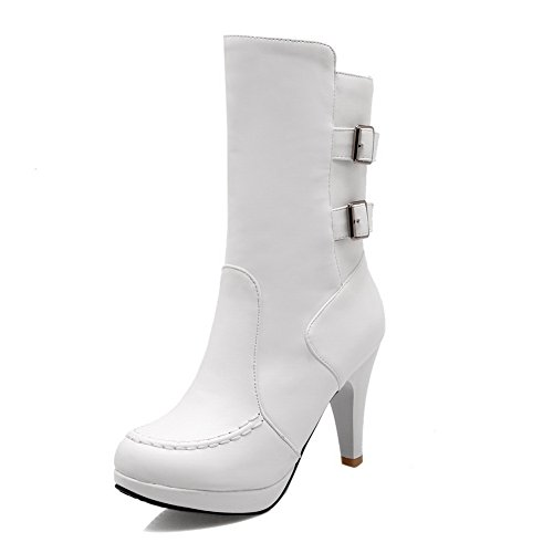 A&N Womens Multilayer Metal Strap Platform Pull-On Stiletto Imitated Leather Boots White cHpPI