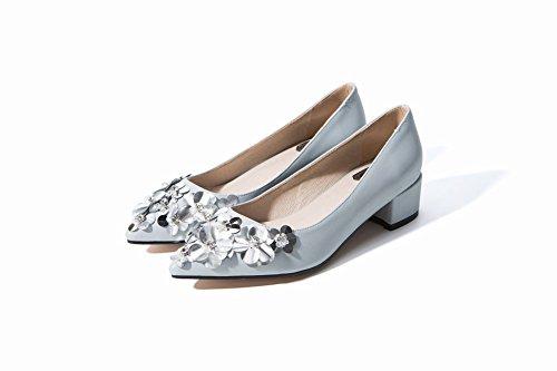 Mee Shoes Damen Blumen chunky heels Geschlossen Pumps Hellblau