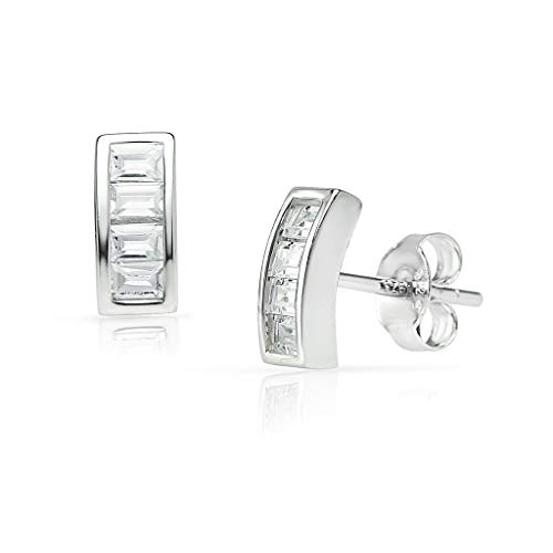 SOLIDSILVER -Sterling Silver Baguette Stud Earrings with Crystal Clear CZ Inlays | Sterling Silver (Sterling Silver Clear Baguette)