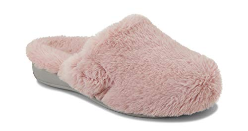 Vionic Womens Indulge Gemma Plush Slipper - Ladies Adjustable Slipper with Concealed Orthotic Arch Support Blush 8 M US