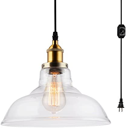 HMVPL Industrial Edison Close to Ceiling Light, Rustic Mini Semi Flush Mounted Pendant Lighting with Clear Glass Shade for Kitchen Island Dining Room Living Room Bedroom Plug-in