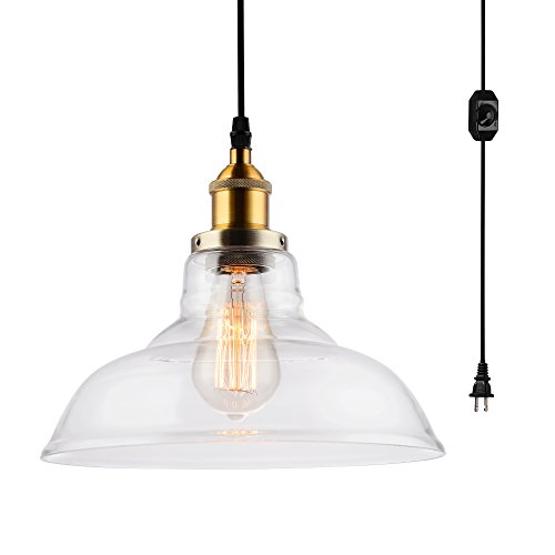 HMVPL Glass Hanging Lights with Plug in Cord and On/Off Dimmer Switch, Updated Industrial Edison Vintage Swag Pendant Lamps for Kitchen Island or Dining (Lamp Light Glass Pendant)
