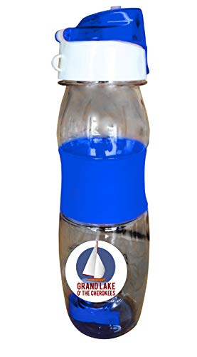 Grand Lake Oklahoma Nautical Trendy Souvenir Water Bottle with Arm Band by R and R Imports