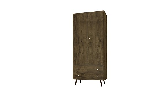 Manhattan Comfort Liberty Collection Mid Century Modern Armoire Closet With Two Cabinets and Two Drawers, Wood by Manhattan Comfort