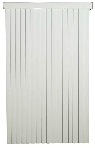 Off White Solid Vinyl Cordless Vertical Blinds with 3-1/2″ Smooth Vanes 48″ Wide x 60″ Long, USA