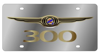 Eurosport Daytona Compatible/Replacement for Chrysler 300 Gold Logo License Plate ()