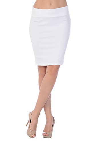 Jubilee Couture Womens Above Knee Short Sexy Mini Pencil Skirt Made In USA-White (Ivory),Large (Polka Dot Mini Skirt)