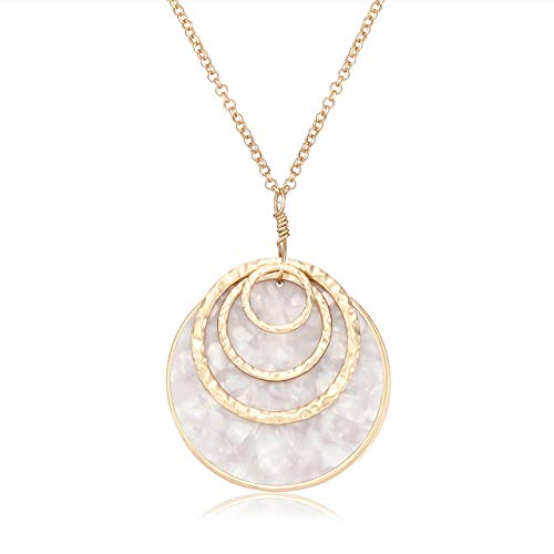 MOLOCH Long Necklace for Women Girls Geometry Teardrop Acrylic Circle Pendant Necklace Statement Boho Acetate Resin Necklace Minimalist Gift (White)