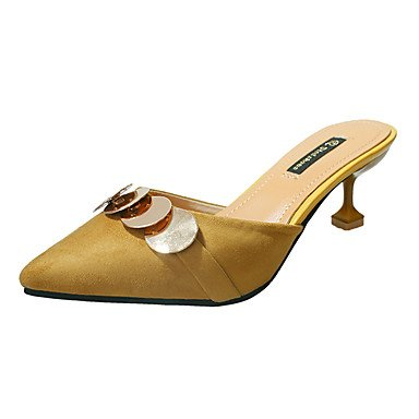 ggx Damen Schwarz black Paillette PU Pumps Paillette Nubukleder High Heels Gelb Sommer Stöckelabsatz Beige Normal Pumps Flach Kleid LvYuan Walking fgd5nwqf
