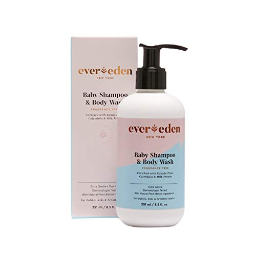 Evereden Baby Shampoo & Natural Body Wash - Fragrance Free Baby Soap - Tear Free, Organic Shampoo with Avocado Oil & Coconut Oil - Perfect Baby Shower Gifts for Baby Girl or Baby Boy
