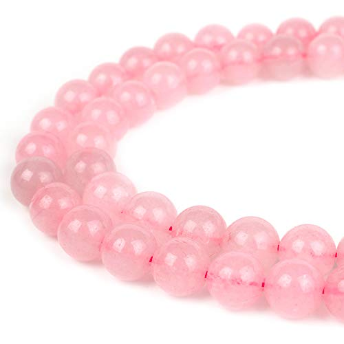 RVG 8mm Natural Rose Quartz Beads Round Gemstone Loose Stone Mala 15.5 in Strand for Jewelry Making (Approx 45-48 pcs)