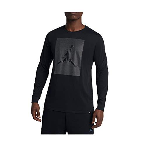 (Jordan Men's Nike P-51 Jump Long Sleeve Tee-Black-Medium)