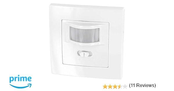 Sensor de movimiento 160° para montaje empotrado en pared, apto para luz led, conexión de 2 pines, carga mínima de solo 1 W, apto para cajas de 60 mm de ...