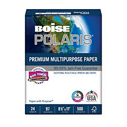 """Polaris Premium Multipurpose Paper, 97 Bright, 500 Sheets/Ream, 8 1/2"""" x 11"""", 24 lb."""