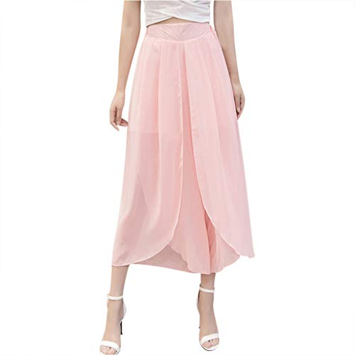 Fashion Pants for Women,High Waist Chiffon Solid Color Wide Leg Loose Casual Trousers(Pink,4XL)