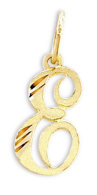 Cursive E Letter Pendant 14k Yellow Gold Initial Charm Solid from Jewel Tie