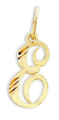 Yellow Gold Graduation Charm (Cursive E Letter Pendant 14k Yellow Gold Initial Charm)