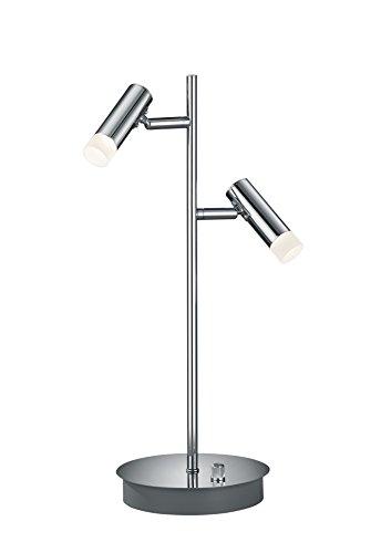 Trio Leuchten LED-tafellamp Zidane, chroom, kap acryl wit 578610206