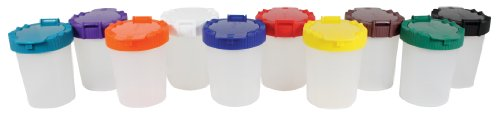 Sargent Art 22-1610 No-Spill Paint Cups with Flip Open Lids, Set of 10